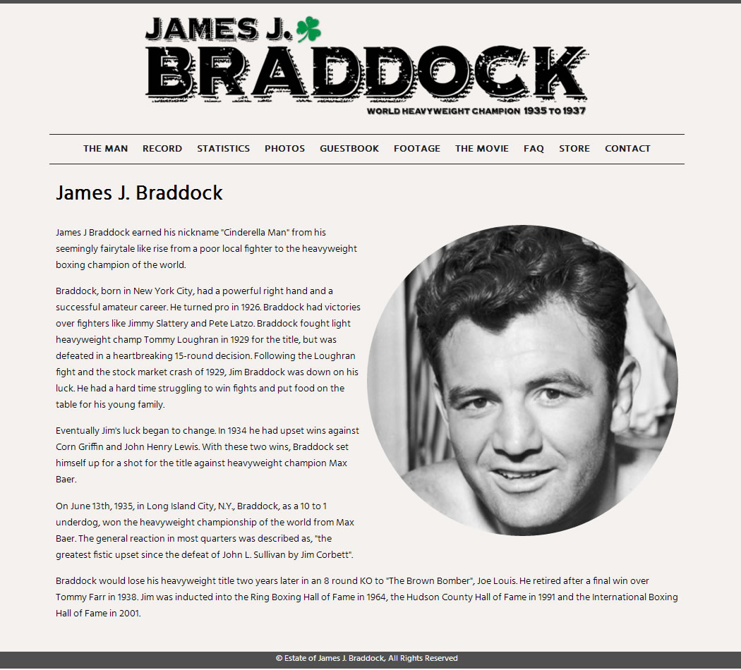 screenshot of the Official James J. Braddock website