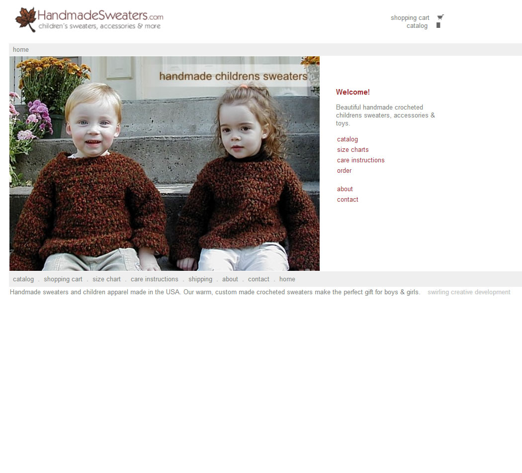 screenshot of the Handmade Sweaters website