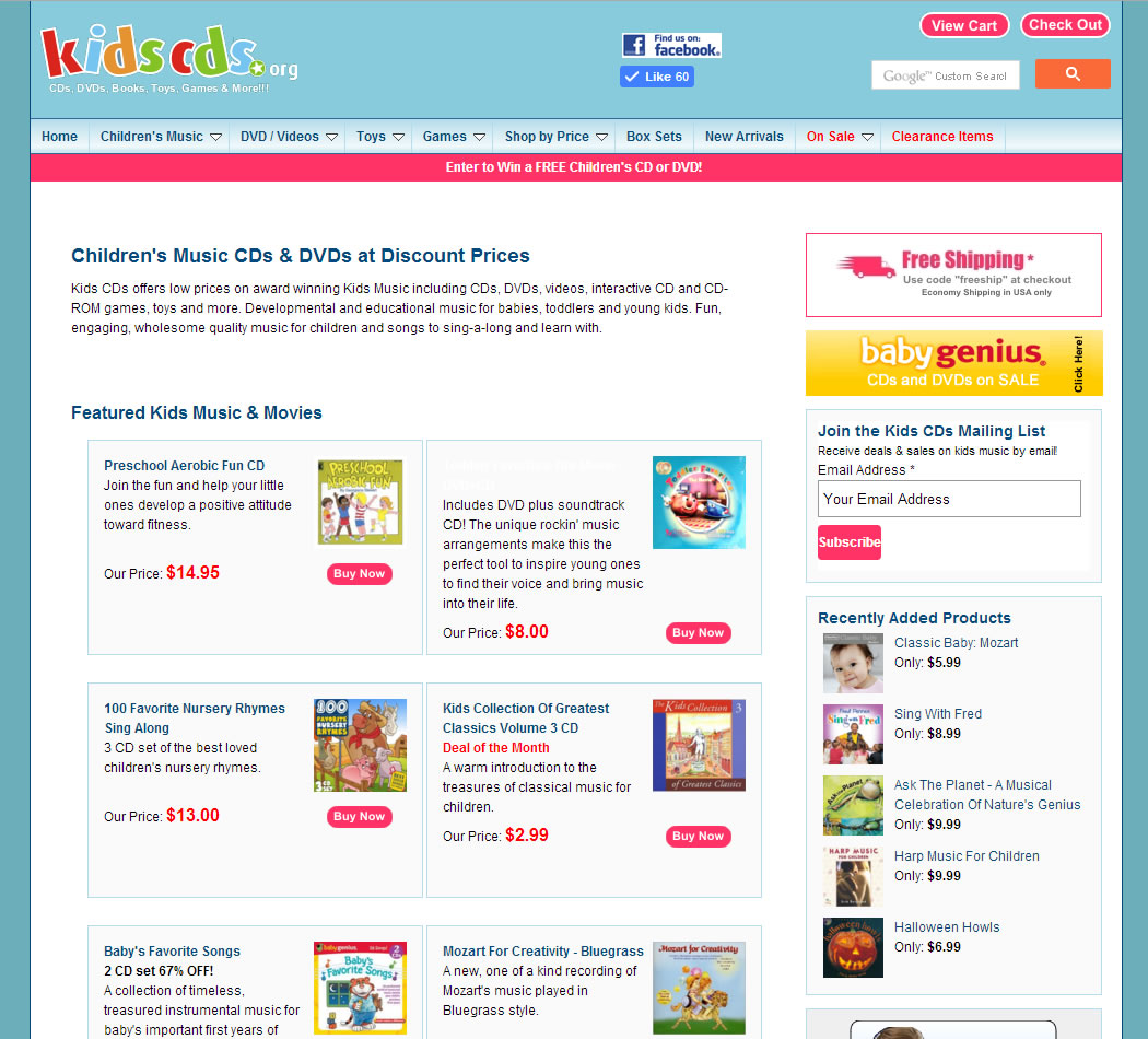 screenshot of the Kids CDs dot org website