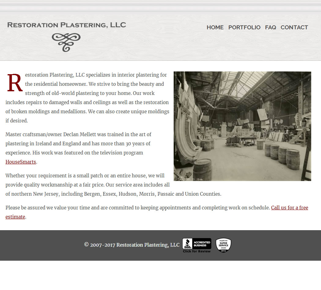 screenshot of the Restoration Plastering website