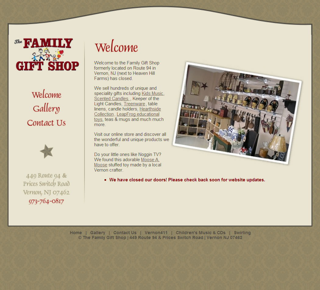 screenshot of The Family Gift Shop website
