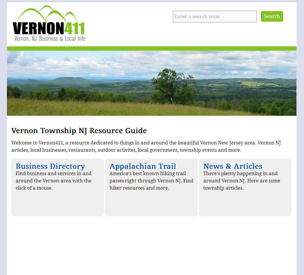 screenshot of the Vernon 411 website